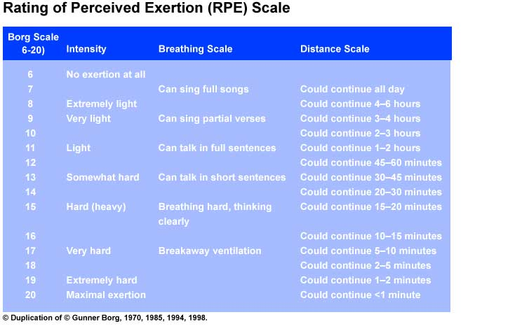 Rating of Perceived Exertion (RPE) Scale